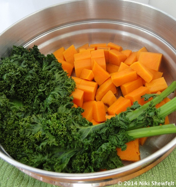 steamed kale and potato